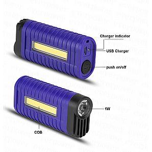 USB Rechargeable Pocket LED Flashlight Clip LED Work Light